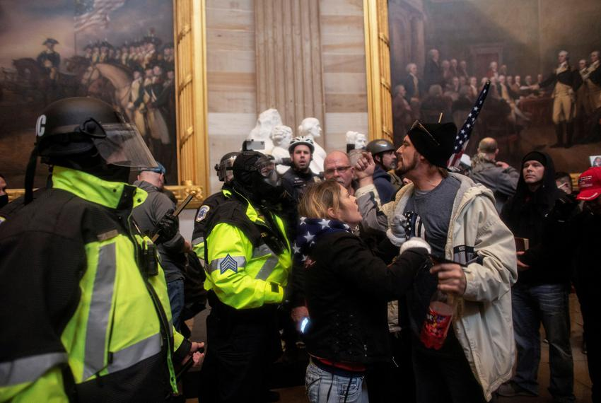 Pro-Trump protesters storm the U.S. Capitol during a rally to contest the certification of the 2020 U.S. presidential electi…