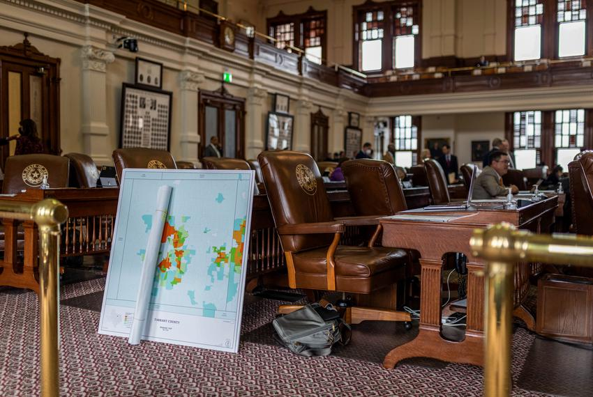 A map of Tarrant County shows Hispanics' voting age population on the House floor on Oct. 12, 2021.