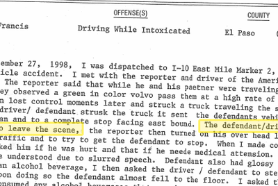 Narrative from Beto O'Rourke's 1998 DWI arrest report.