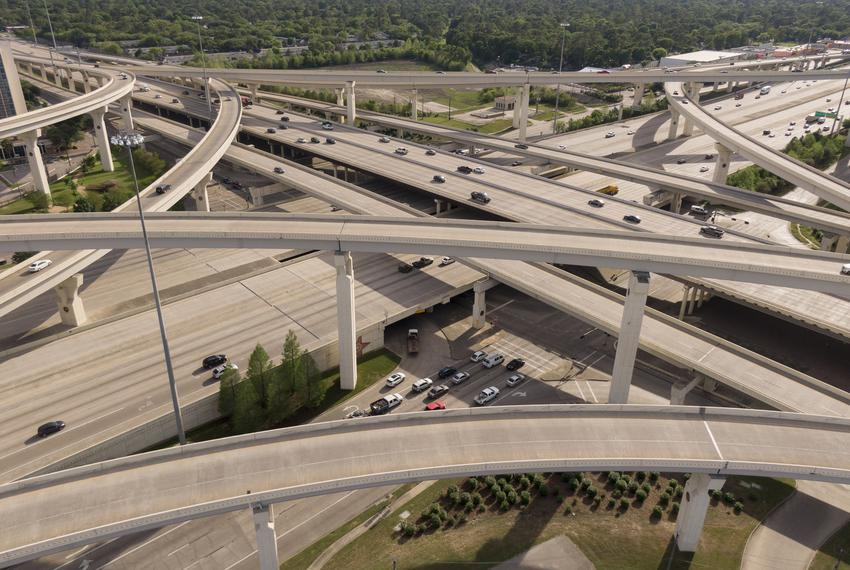 An aerial view of Houston. Highways were empty as a result of the coronavirus outbreak . April 1, 2020.