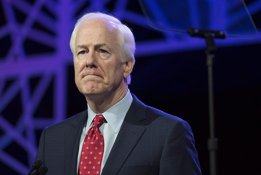 U.S. Sen. John Cornyn wraps up his keynote address to delegates at the Republican Party of Texas convention in Dallas on M...