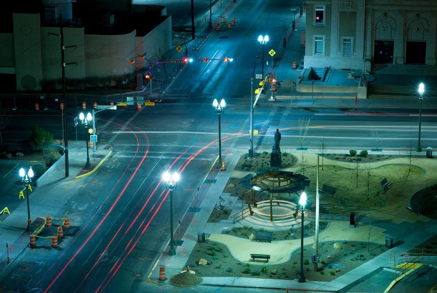 Downtown El Paso at night.