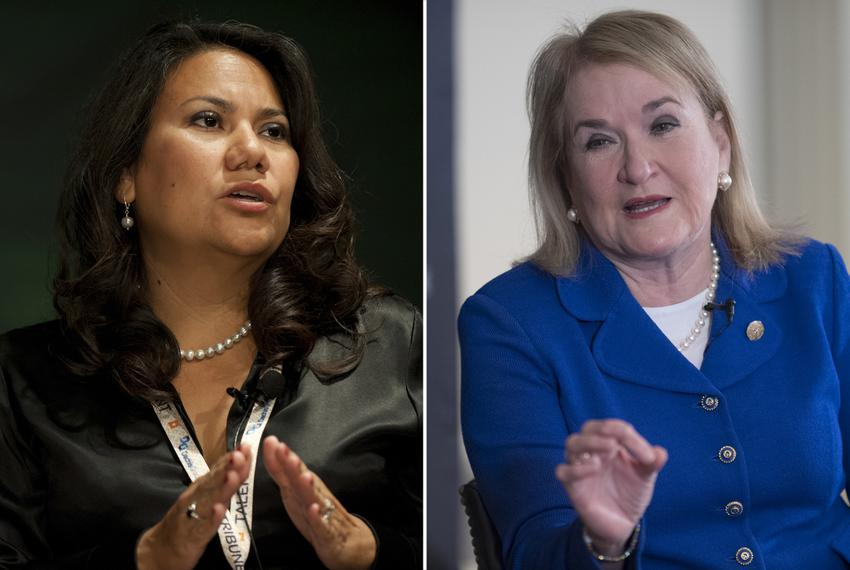 Former County Judge for El Paso County Veronica Escobar and state Sen. Sylvia Garcia, D-Houston.