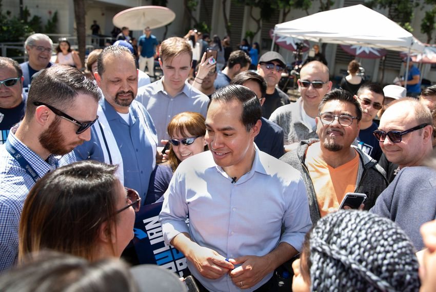 Presidential candidate Julián Castro greets supporters at a rally at James Garfield High School in East Los Angeles on April 6, 2019.