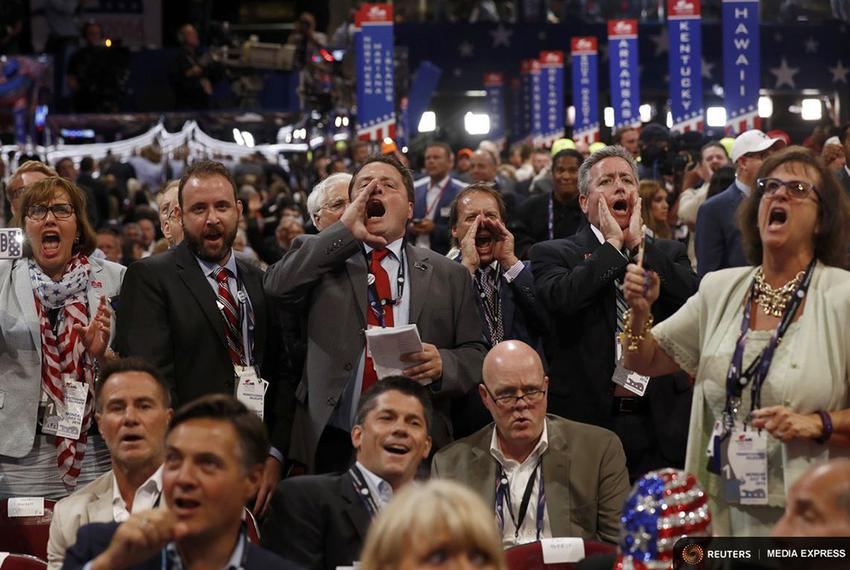 Republican National Convention delegates in Cleveland yell and scream as the Republican National Committee Rules Committee a…