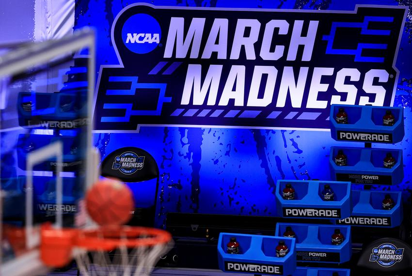 The March Madness logo before the game between the Syracuse Orange and the Houston Cougars in the Sweet Sixteen of the 2021 …