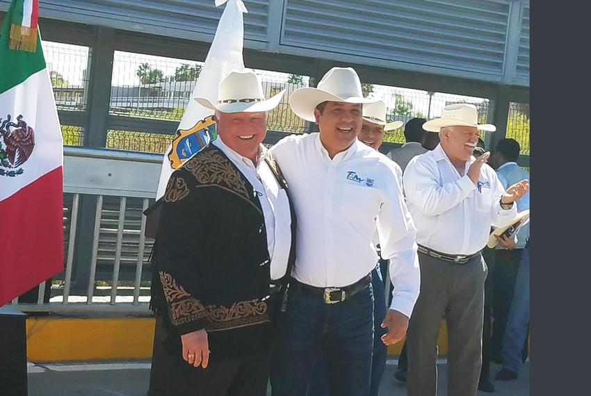 Texas Agriculture Commissioner Sid Miller and Francisco Garcia Cabeza de Vaca, governor of the neighboring Mexican state o...