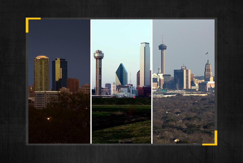 From left: skylines of Fort Worth, Dallas and San Antonio.