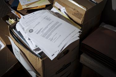 Case files at the Harris County public defender's office in Houston.