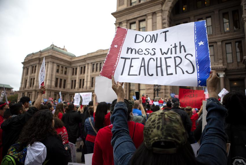 The Texas American Federation of Teachers hold a rally in support of public education at the capitol on Mar. 11, 2019.