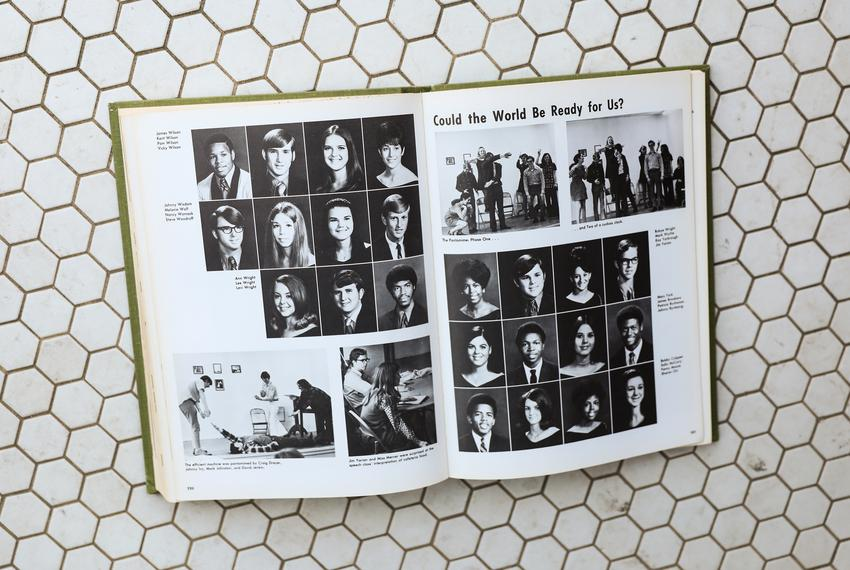 The 1971 Lobo yearbook features the newly desegregated faculty, staff, and students.