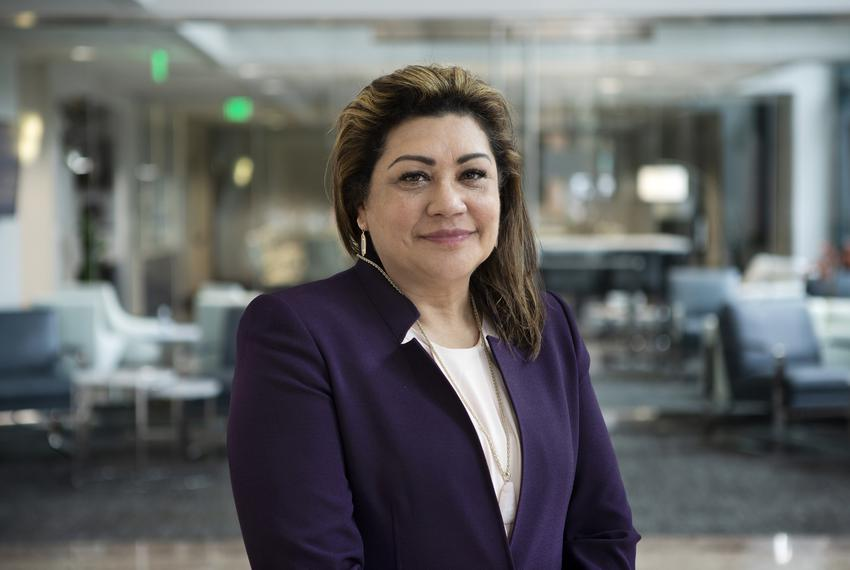 Judge Elsa Alcala in the lobby of the 919 Congress after visiting the Texas Tribune offices. Jan. 10, 2019.