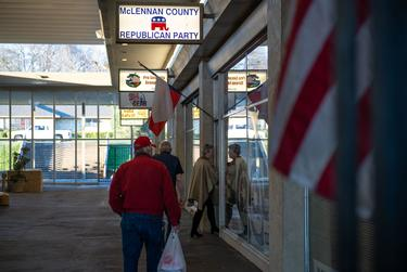 People enter the McLennan County Republican Party headquarters in Waco to hear Frederick Douglass Republicans founder KCarl Smith speak.
