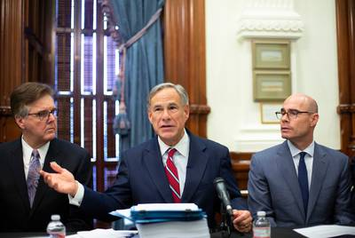 From left: Lt. Gov. Dan Patrick, Gov. Greg Abbott and House Speaker Dennis Bonnen hosted the first meeting of the Texas Safety Commission on Aug. 22 at the Texas Capitol.