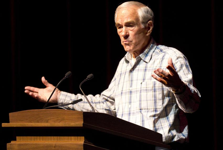 U.S. Rep. Ron Paul, campaigning for the GOP presidential nomination, speaks at a town hall event at Texas A&M University on …