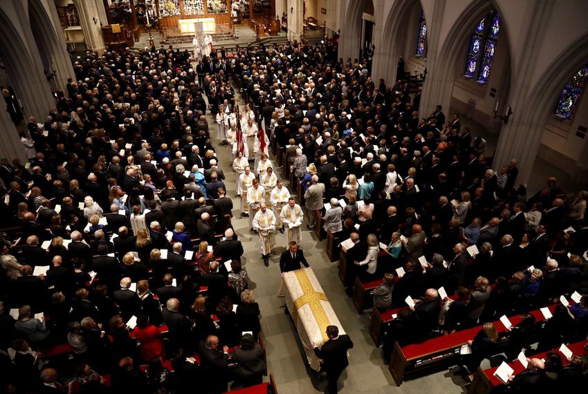 The funeral procession leaves St. Martin's Episcopal Church at the end of service for former First Lady Barbara Bush, in Houston on April 21, 2018.