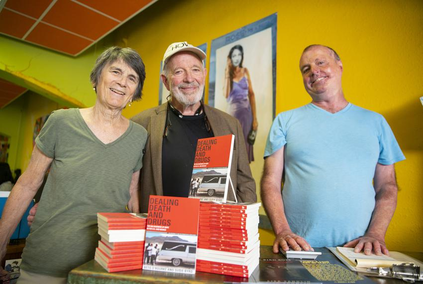 """Lee, Bobby and John Byrd, owners of Cinco Puntos Press, who published O'Rourke's only book, """"Dealing Death and Drugs."""""""