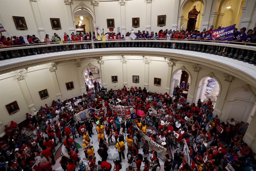 "On the last day of the 85th Legislative session, protesters opposed to Senate Bill 4 — the ""sanctuary cities"" bill fill up the rotunda of the state Capitol in Austin on May 29, 2017."
