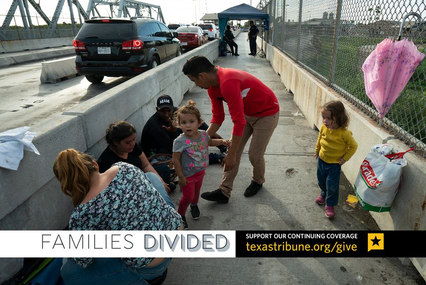 Families from Guatemala and Honduras wait to apply for asylum at the Texas-Mexico border.
