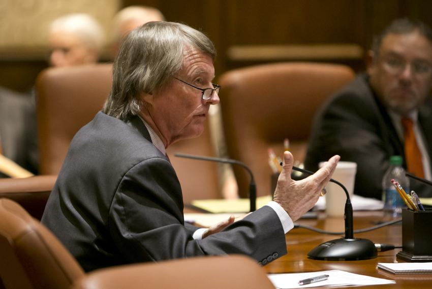 UT President Bill Powers speaks during a UT Board of Regents meeting on July 10, 2014.