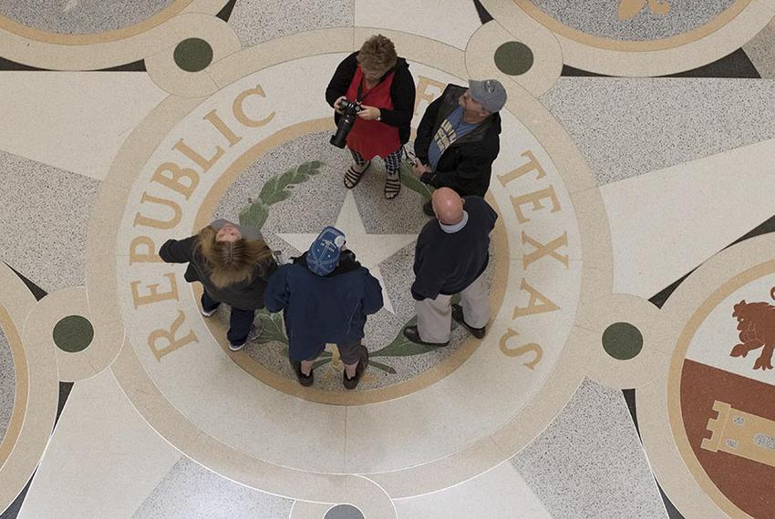 Tourists gather around the Lone Star in the Capitol rotunda Jan. 10, 2017 about an hour before the 85th Texas Legislature ki…