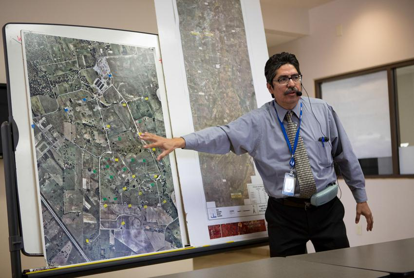Twin Oaks Valley Water Treatment Plant manager Roberto Macias speaks to visitors during a tour of the San Antonio Water Sy...