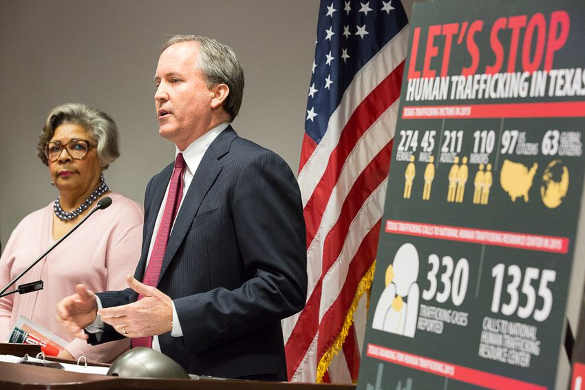 Texas Attorney General Ken Paxton announced a new unit of his office dedicated to combating human trafficking. State Rep. Senfronia Thompson, D-Houston, the author of a law that enhanced penalties for human trafficking, joined Paxton at a press conference on Jan. 14, 2016.