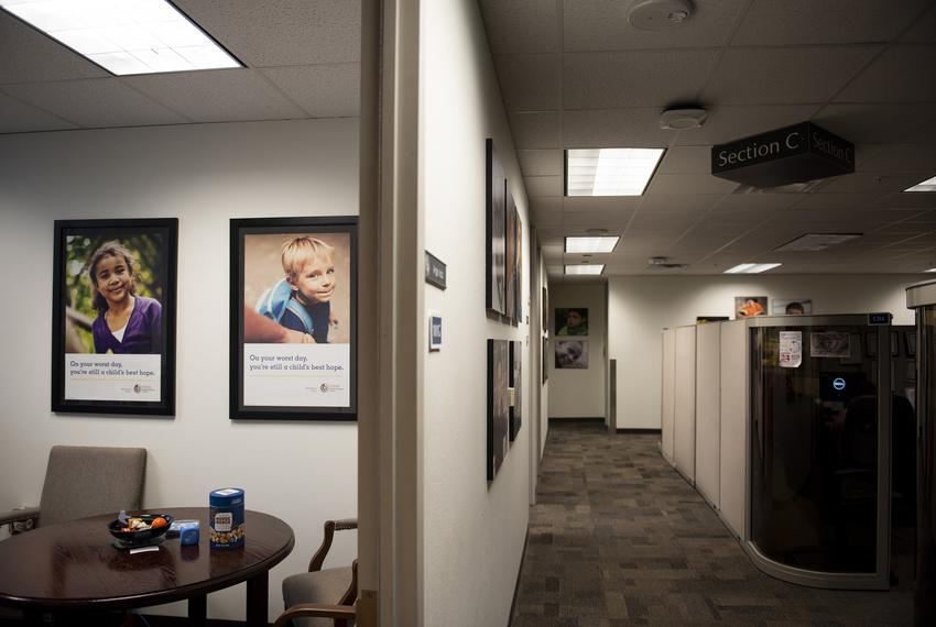 Heart Galleries — portraits of adoptable children — on display at the Child Protective Services office at the Texas Depart...