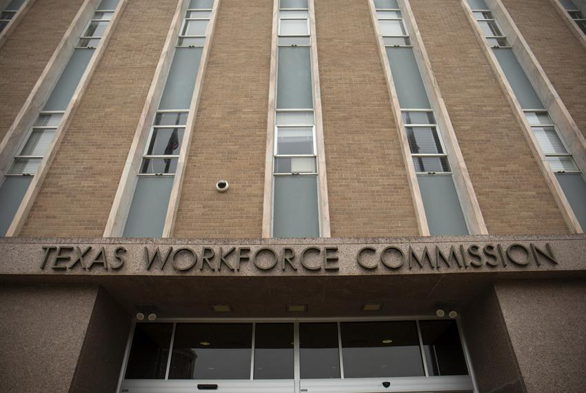 The Texas Workforce Commission Building in Austin on March 30, 2020.