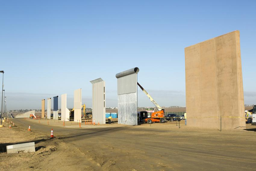 Ground views of different border wall prototypes as they take shape during the Wall Prototype Construction Project near the …
