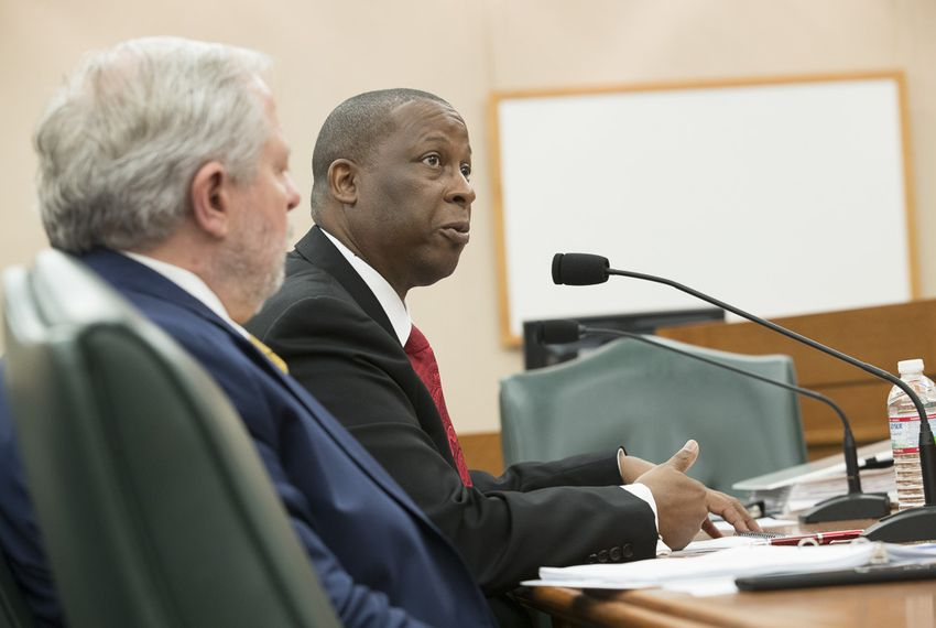 Charles Smith of the Texas Department of Health and Human Services testifies Wednesday, Nov. 1, 2017, to the House Committees on Human Services and Public Health at the Capitol.