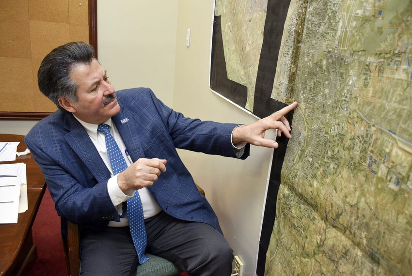 Laredo Mayor Pete Saenz describes where the city's River Vega project will be constructed should his administration  secure funds for its construction. Saenz spoke with The Texas Tribune from his Laredo office on March 12.