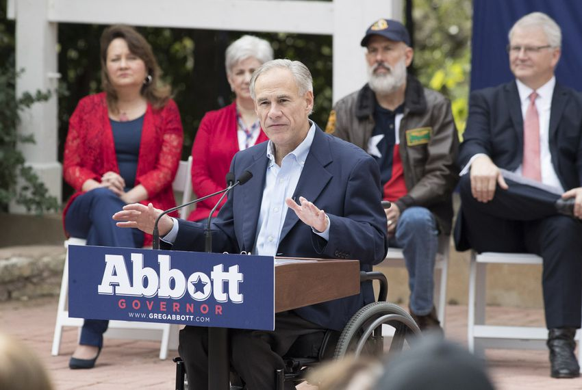 Gov. Greg Abbott announces plans for several veteran's initiatives during a campaign speech Nov. 11, 2017 at the Austin American Legion Hall on Lady Bird Lake.