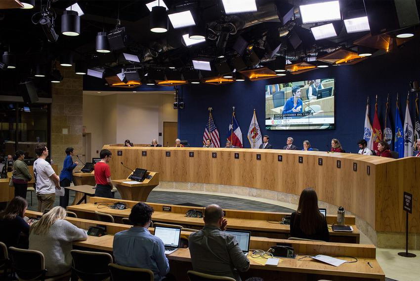 Austin City Council members and staff listen to testimony on paid sick leave on Thursday, Feb. 15, 2018. After hearing from …