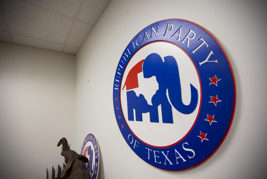 Republican Party emblems and signs at the Republican Party of Texas office in downtown Austin.
