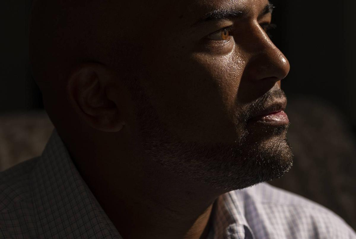 James Whitfield, 43, principal at Colleyville Heritage High School, has been placed on leave by the Grapevine-Colleyville ISD after being accused of teaching critical race theory at his high school. Photographed at his home in Hurst on Sept. 16, 2021.