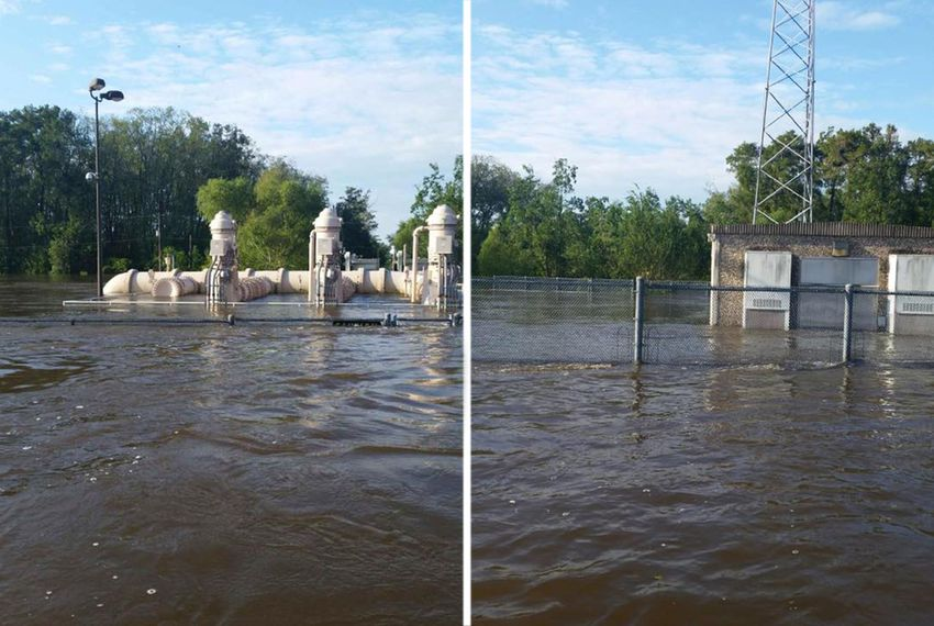 Beaumont's main intake water pump station surrounded by floodwaters on Aug. 31, 2017.