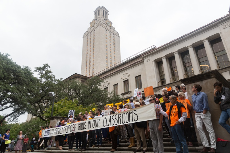 On Nov. 10, 2015, University of Texas at Austin faculty and students protested the new campus carry law that will allow concealed handgun license holders to carry handguns into campus buildings.