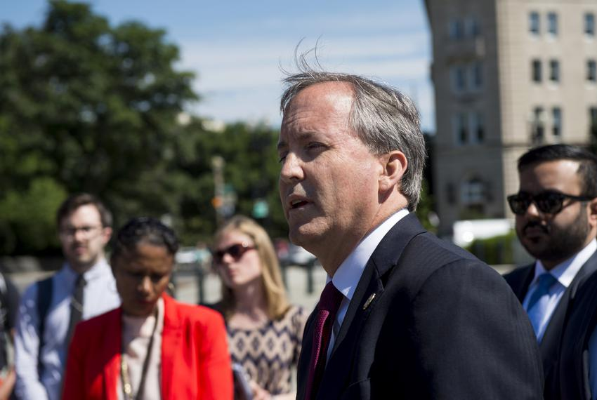 Texas Attorney General Ken Paxton at a press conference in front of the U.S. Supreme Court in 2016.