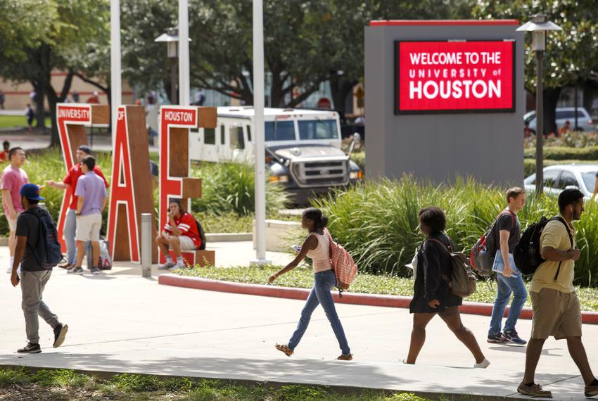 University of Houston students back on campus in Houston on Tuesday, Sept. 5, 2017, after Hurricane Harvey.