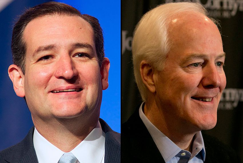 Republican U.S. Sens. Ted Cruz (l) and John Cornyn