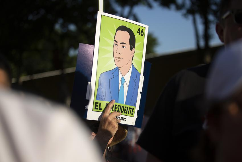 Presidential candidate Julián Castro speaks to supporters at a rally in San Antonio after an earlier visit by President Do...