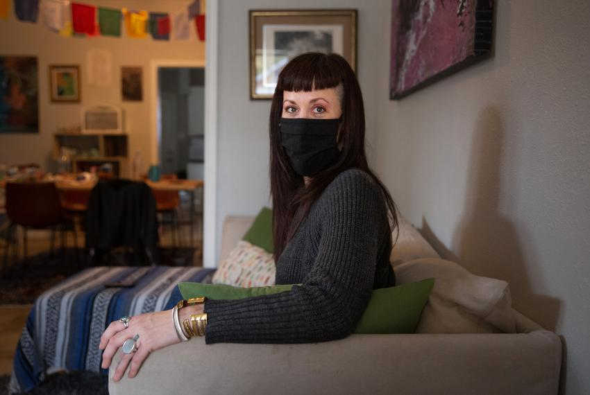 Cate Puckett in her Houston home on Dec. 14, 2020. She is one of many Texans legally fighting against eviction as the CDC mo…