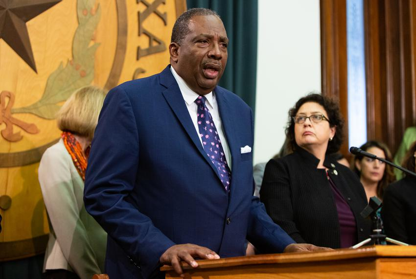 State Sen. Royce West, D-Dallas, speaks to the press following Gov. Abbott's State of the State address in Austin on Feb. ...