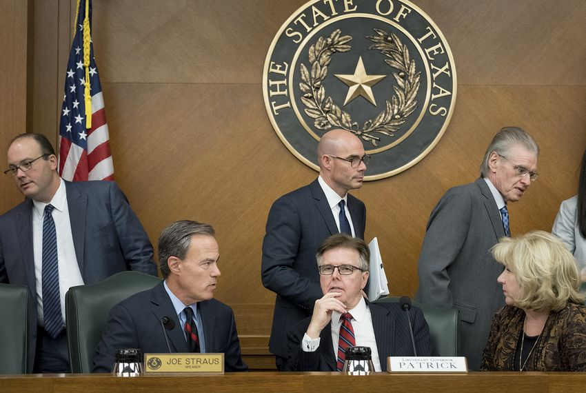 The Texas Legislative Budget Board, including House Speaker Joe Straus, Lt. Gov. Dan Patrick and state Sen. Jane Nelson, on Dec. 1, 2016.