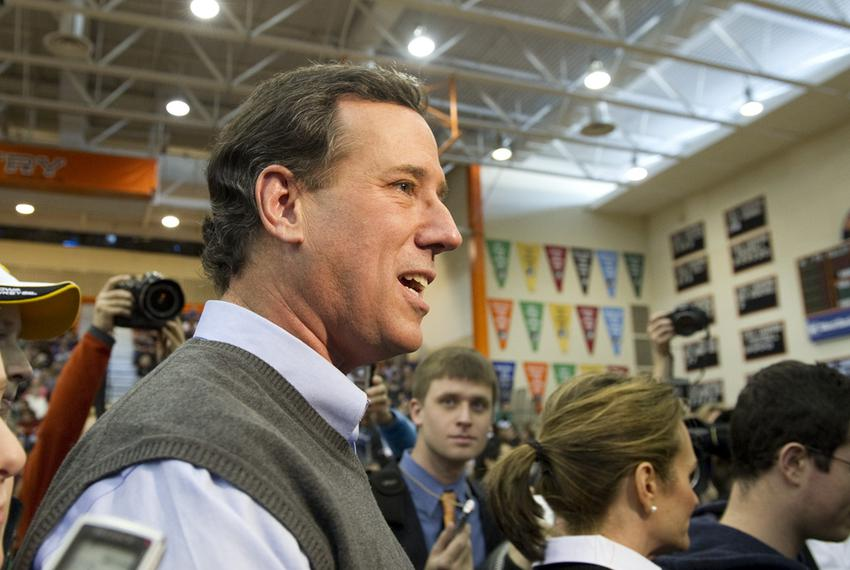 Rick Santorum leaving the stage at Valley High School in Des Moines, Iowa, after a Rock the Caucus speech on Jan. 3, 2012.