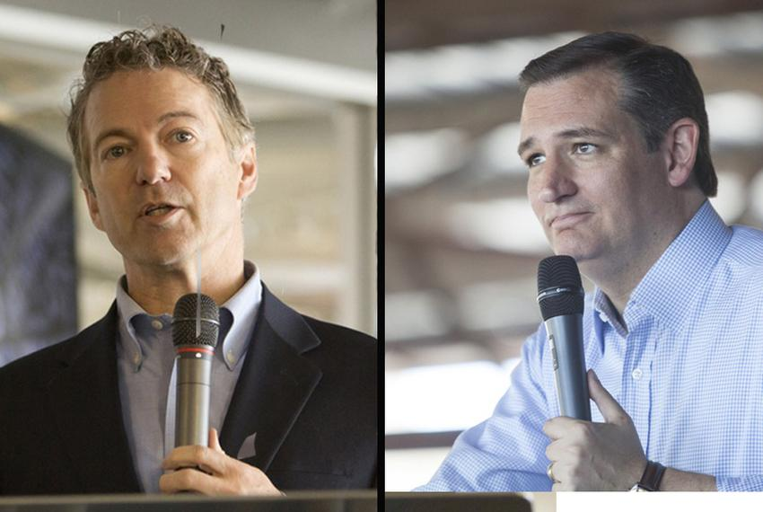Presidential contenders and U.S. Sens. Rand Paul (l) and Ted Cruz.