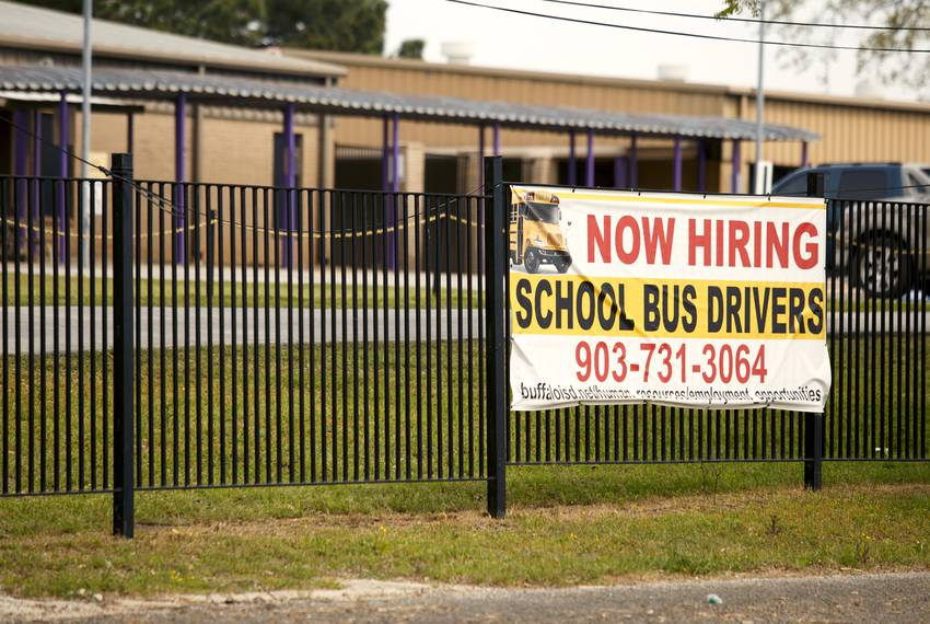 A schoolbus drivers needed sign outsde the elementary school has gone unanswered for years in Buffalo, Texas Thursday March 28, 2019.  (Photo by Michael Stravato)