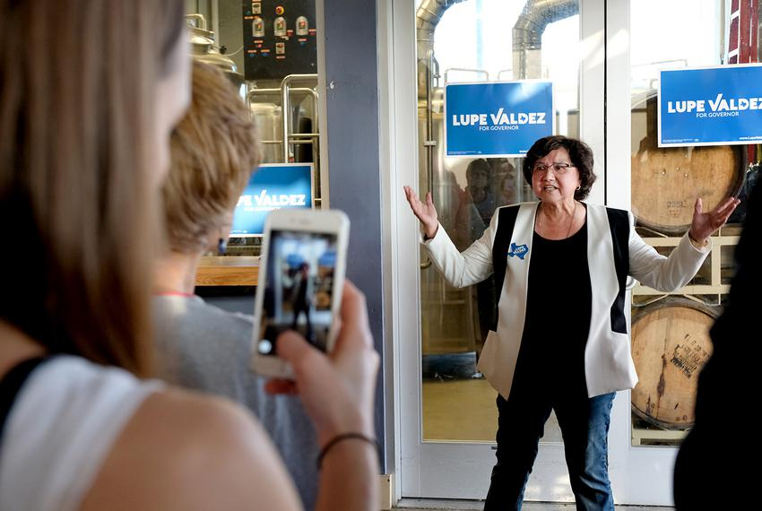 Lupe Valdez campaigns for governor at Black Star Co-op in Austin on April 13, 2018.