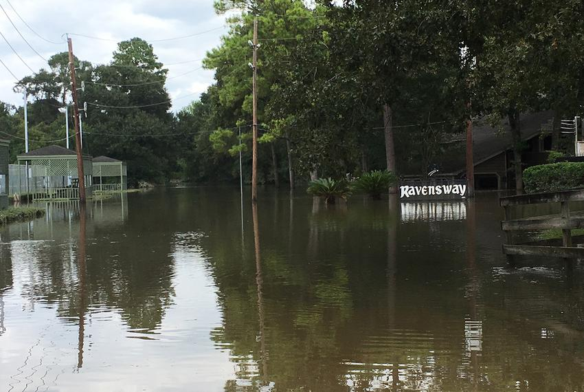 The Ravensway subdivision in Cypress near Houston where Dick Smith lives on Aug. 30, 2017, following Hurricane Harvey.